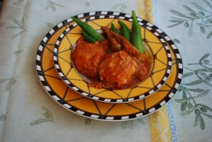Okra Stew With Ground Meat Dumplings