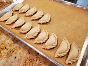 fill baking tray